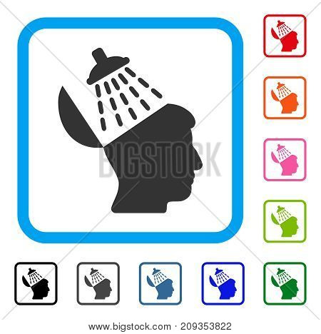 Brain Washing icon. Flat grey iconic symbol inside a light blue rounded rectangular frame. Black, gray, green, blue, red, orange color variants of Brain Washing vector.