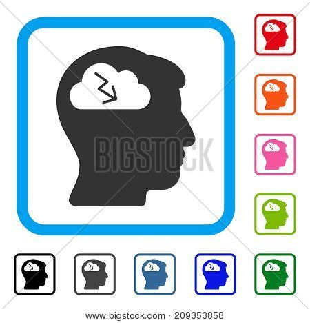 Brainstorming icon. Flat grey iconic symbol in a light blue rounded squared frame. Black, gray, green, blue, red, orange color variants of Brainstorming vector.