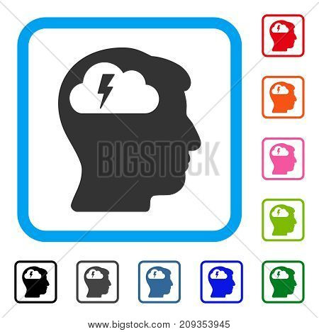Brainstorming icon. Flat gray pictogram symbol in a light blue rounded square. Black, gray, green, blue, red, orange color variants of Brainstorming vector.