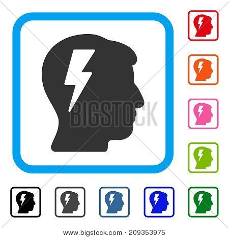 Brainstorming icon. Flat gray iconic symbol in a light blue rounded square. Black, gray, green, blue, red, orange color variants of Brainstorming vector. Designed for web and app interfaces.