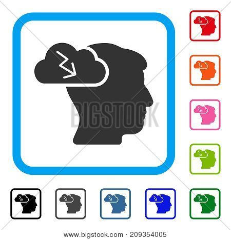 Brainstorming icon. Flat gray iconic symbol inside a light blue rounded rectangular frame. Black, gray, green, blue, red, orange color versions of Brainstorming vector.