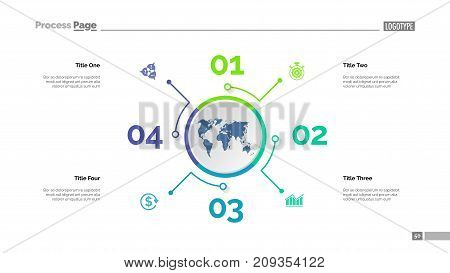 Four options process chart slide template. Business data. Step, diagram, design. Creative concept for infographic, presentation, report. Can be used for topics like management, finance, teamwork.