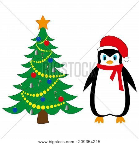 festive penguin new year tree on a white background
