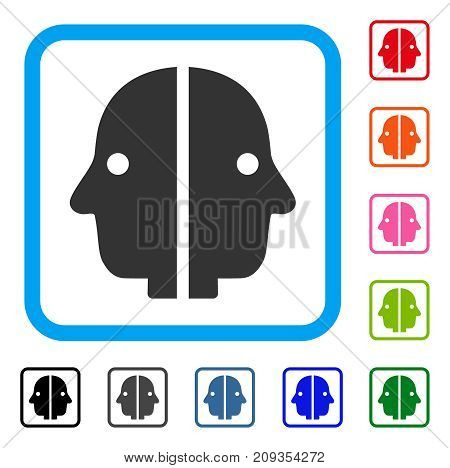 Dual Face icon. Flat gray pictogram symbol in a light blue rounded squared frame. Black, gray, green, blue, red, orange color additional versions of Dual Face vector.