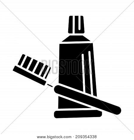 teeth brush tooth paste icon, illustration, vector sign on isolated background