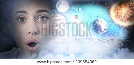 Composite image of solar system in 3d against white background against surprised female executive against white background