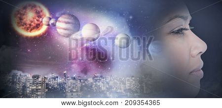 Close-up side view of beautiful woman looking away against composite image of solar system against white background in 3d