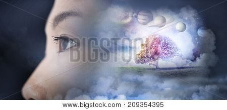 Composite image of solar system against white background against close up of young woman looking away in 3d