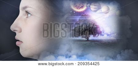 Composite image of solar system in 3d against white background against teenage girl against white background