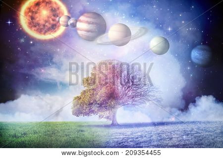 Composite image of planets and sun against autumn turning to winter in 3d