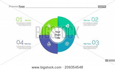 Four sectors process chart slide template. Business data. Model, diagram, design. Creative concept for infographic, presentation, report. Can be used for topics like marketing, accounting, analytics.