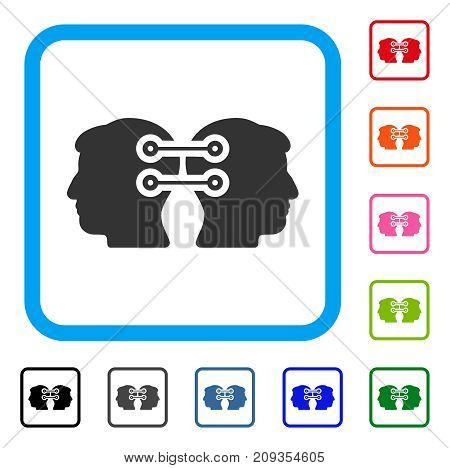 Dual Heads Interface Connection icon. Flat gray iconic symbol inside a light blue rounded frame. Black, gray, green, blue, red, orange color versions of Dual Heads Interface Connection vector.