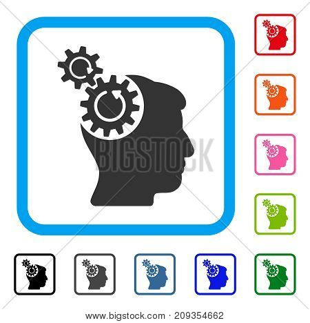 Head Cogs Rotation icon. Flat gray iconic symbol in a light blue rounded rectangle. Black, gray, green, blue, red, orange color additional versions of Head Cogs Rotation vector.