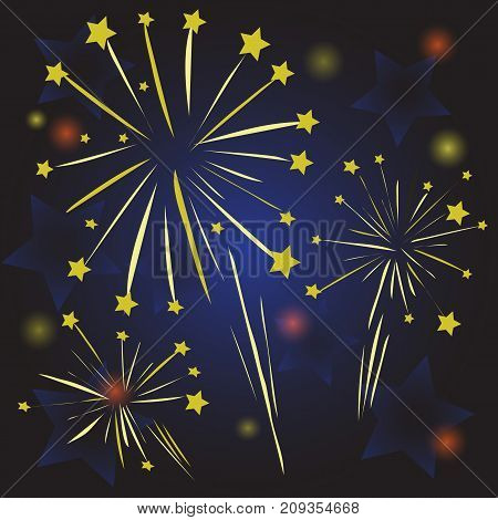colorful illustration with starry fireworks on blue night background