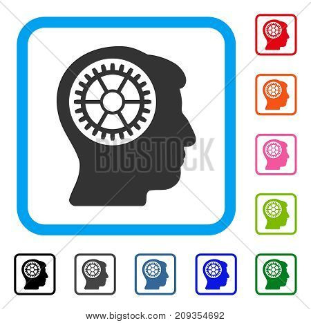 Head Cogwheel icon. Flat grey pictogram symbol inside a light blue rounded square. Black, gray, green, blue, red, orange color additional versions of Head Cogwheel vector.