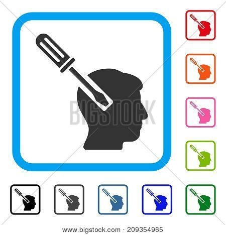 Head Screwdriver Tuning icon. Flat grey pictogram symbol in a light blue rounded frame. Black, gray, green, blue, red, orange color variants of Head Screwdriver Tuning vector.