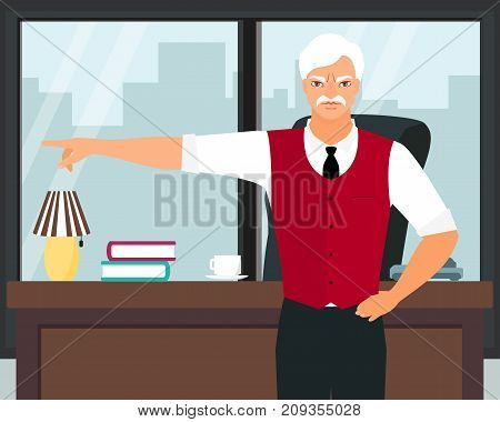 Angry boss pointing the finger vector illustration. Furious elderly white-haired businessman gesturing showing the door in his office. Flat style design.