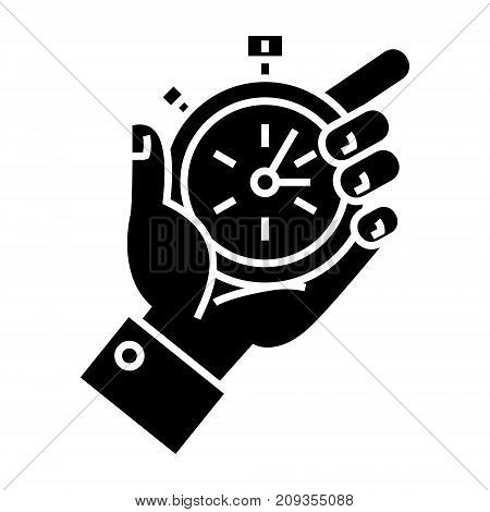time management - hand timer icon, illustration, vector sign on isolated background