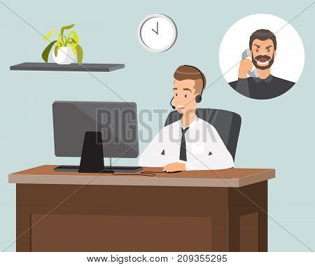 Call center operator in headset vector illustration. Male customer service representative answering the call. Customer support concept flat style design element.
