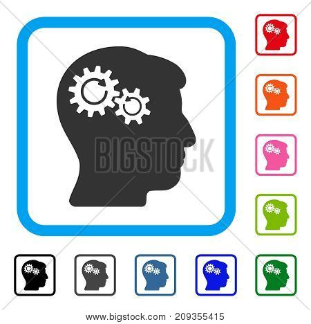 Head Wheels Rotation icon. Flat gray iconic symbol in a light blue rounded frame. Black, gray, green, blue, red, orange color additional versions of Head Wheels Rotation vector.