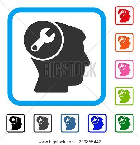 Head Wrench Repair icon. Flat gray iconic symbol inside a light blue rounded squared frame. Black, gray, green, blue, red, orange color versions of Head Wrench Repair vector.