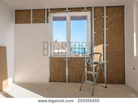 Plasterboard is under construction. plasterboard and drywall