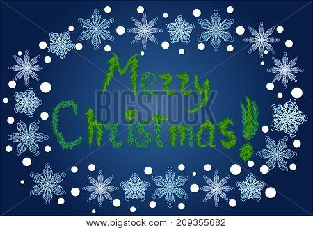 Inscription Happy Christmas From Fir Branches In An Oval Frame Of Snowflakes On A Blue Background, B