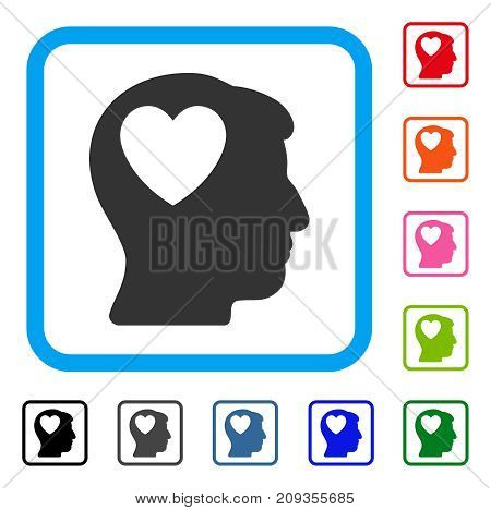 Love Heart Think icon. Flat gray iconic symbol inside a light blue rounded rectangle. Black, gray, green, blue, red, orange color versions of Love Heart Think vector. Designed for web and app UI.