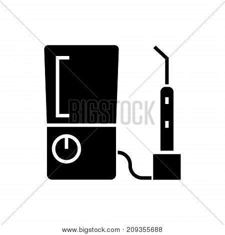 tooth drilling machine icon, illustration, vector sign on isolated background