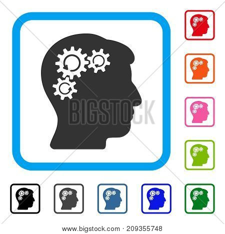 Mind Gear Rotation icon. Flat grey pictogram symbol in a light blue rounded rectangle. Black, gray, green, blue, red, orange color additional versions of Mind Gear Rotation vector.