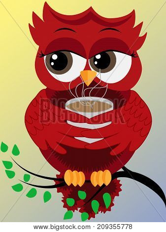Cute beautiful flirtatious red owl on a branch with a cup of steaming coffee tea or chocolate