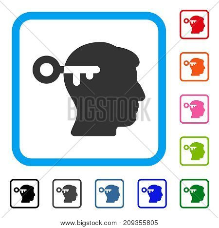 Mind Key icon. Flat grey iconic symbol inside a light blue rounded rectangle. Black, gray, green, blue, red, orange color variants of Mind Key vector. Designed for web and application user interface.