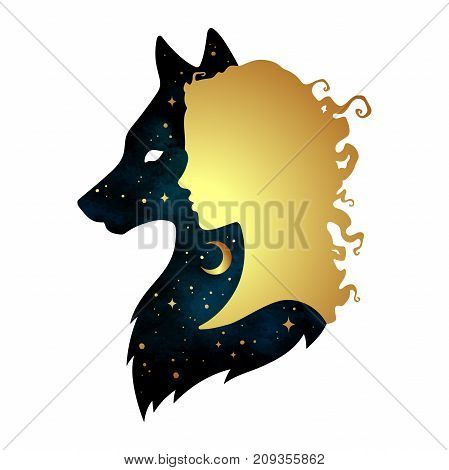 Silhouette of beautiful woman with shadow of wolf with crescent moon and stars isolated. Sticker print or tattoo design vector illustration. Pagan totem wiccan familiar spirit art.