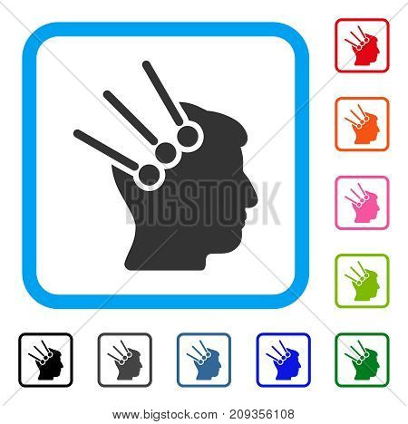 Neural Interface Connectors icon. Flat grey pictogram symbol in a light blue rounded frame. Black, gray, green, blue, red, orange color versions of Neural Interface Connectors vector.