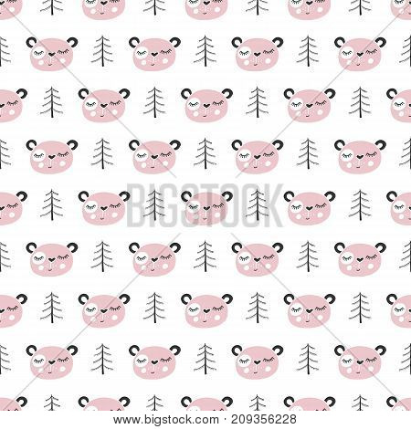 Cute hand drawn nursery seamless pattern with bear in scandinavian style. Monochrome vector illustration.