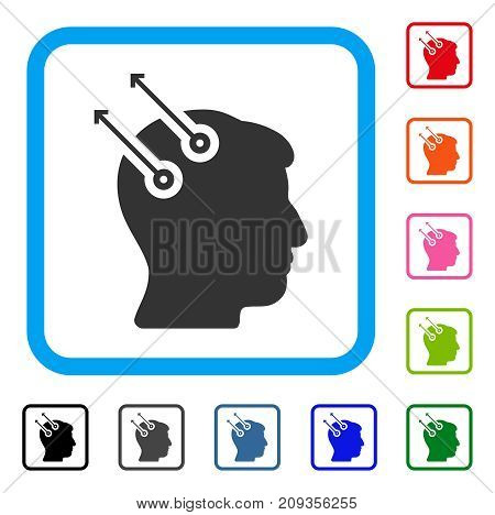 Neural Interface Plugs icon. Flat grey iconic symbol inside a light blue rounded rectangle. Black, gray, green, blue, red, orange color versions of Neural Interface Plugs vector.