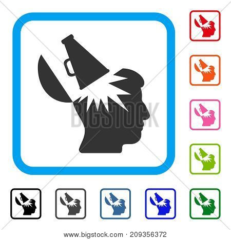 Open Brain Megaphone icon. Flat grey pictogram symbol in a light blue rounded frame. Black, gray, green, blue, red, orange color variants of Open Brain Megaphone vector.