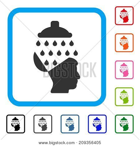 Open Brain Shower icon. Flat grey iconic symbol inside a light blue rounded rectangular frame. Black, gray, green, blue, red, orange color versions of Open Brain Shower vector.