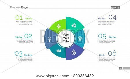 Four sectors process chart slide template. Business data. Model, circle, design. Creative concept for infographic, presentation, report. Can be used for topics like marketing, teamwork, analytics.