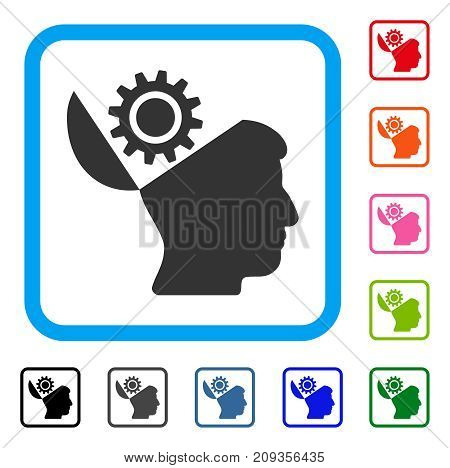Open Head Gear icon. Flat gray iconic symbol inside a light blue rounded rectangular frame. Black, gray, green, blue, red, orange color variants of Open Head Gear vector.