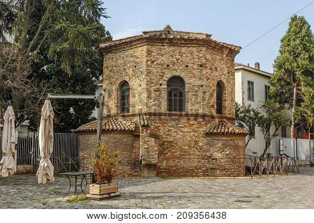 The Arian Baptistry in Ravenna Italy was erected by the Ostrogothic King Theodoric the Great between the end of the 5th century and the beginning of the sixth century.