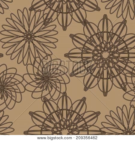 Floral pattern on a solid brown background.