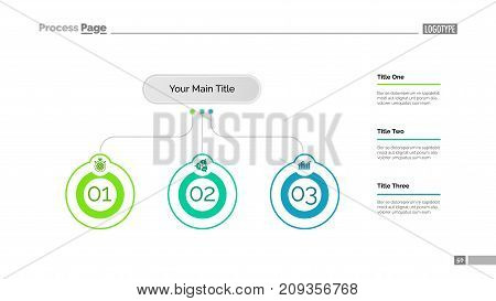 Three ideas process chart slide template. Business data. Startup, diagram, design. Creative concept for infographic, presentation, report. Can be used for topics like marketing, economics, research.