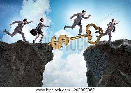 Concept of key to financial success and prosperity
