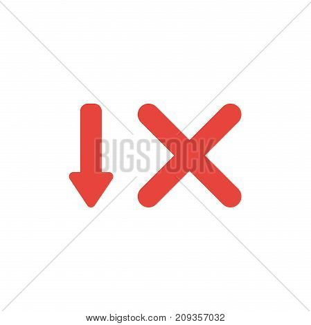 Flat Design Style Vector Concept Of Arrow Down And X Mark