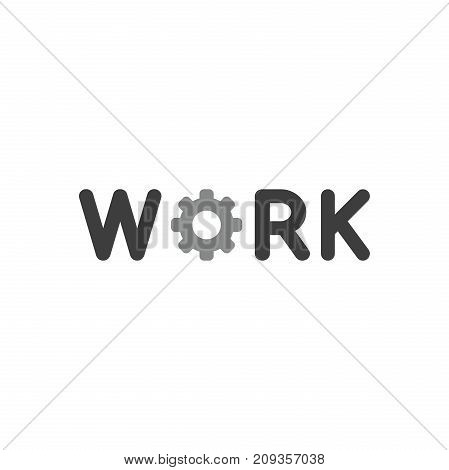 Flat Design Style Vector Concept Of Work Text With Gear