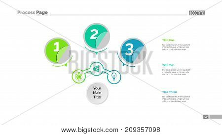 Three circles process chart slide template. Business data. Structure, point, design. Creative concept for infographic, presentation, report. Can be used for topics like marketing, recruitment, production.