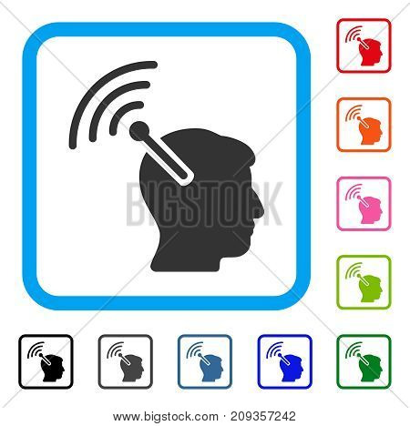 Radio Neural Interface icon. Flat grey pictogram symbol in a light blue rounded frame. Black, gray, green, blue, red, orange color versions of Radio Neural Interface vector.