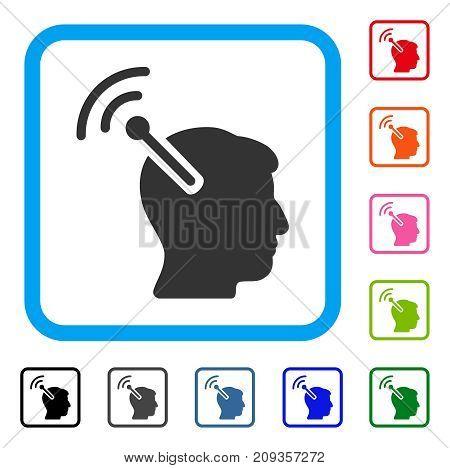 Radio Neural Interface icon. Flat grey pictogram symbol inside a light blue rounded square. Black, gray, green, blue, red, orange color variants of Radio Neural Interface vector.