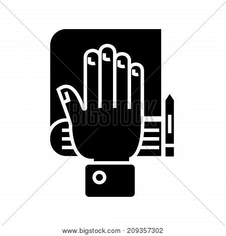 truth concept - hand, bible, scales icon, illustration, vector sign on isolated background